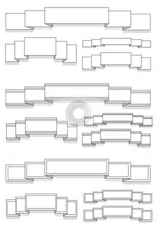 Blank Banners Ribbons stock vector clipart, Vector Illustration of several different white banners and ribbons. by Robert Gebbie