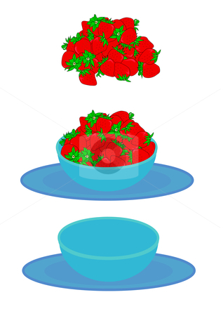 Bowl of Strawberries stock vector clipart, Vector illustration of a large serving of red ripe strawberries with green tops, a blue bowl and plate set, and a combination of both. by Robert Gebbie