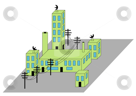 Building Complex stock vector clipart, Vector Illustration of a building complex with power lines and satellite dishes. by Robert Gebbie