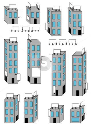 Buildings and Signs stock vector clipart, Vector Illustration of different buildings and blank billboard signs. by Robert Gebbie