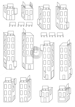 Buildings and Signs Outline stock vector clipart, Vector Illustration of different buildings and blank billboard signs in outline. by Robert Gebbie