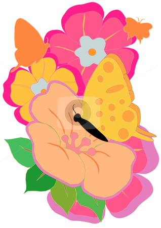 Butterfly and Flowers stock vector clipart, A Vector Illustration of  pink and orange flowers with a Butterfly by Robert Gebbie