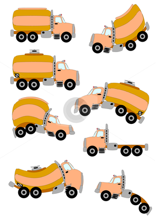 Cartoon Trucks stock vector clipart, Three types of illustrated cartoon trucks in vector format; straight and warped. by Robert Gebbie