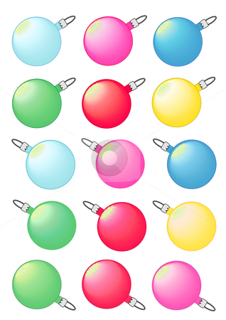 Christmas Baubles stock vector clipart, Vector Illustration of decorative Christmas tree baubles in various colors. by Robert Gebbie