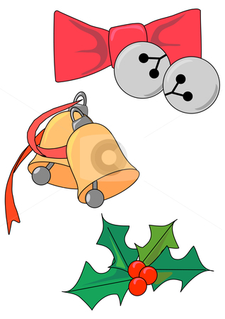 Christmas Bells and Holly stock vector clipart, Vector Illustration of ringing bells and a sprig of holly by Robert Gebbie