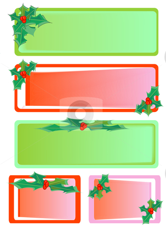 Christmas Holly Tag stock vector clipart, A Vector illustration of red and green colorful holly christmas tags by Robert Gebbie