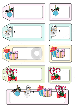 Christmas Present Tags stock vector clipart, Vector Illustration of various seasonal gift tags and labels. by Robert Gebbie