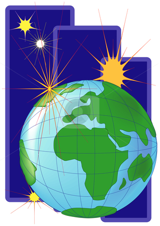 Clean World and Star-Europe stock vector clipart, Vector Illustration of the Earth with a bright star. View of Europe by Robert Gebbie