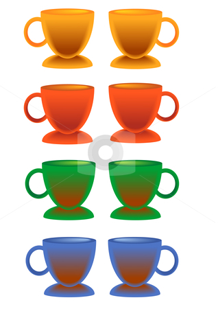 Colored Coffee Cup Set stock vector clipart, Vector Illustration of different colored coffee cups. by Robert Gebbie