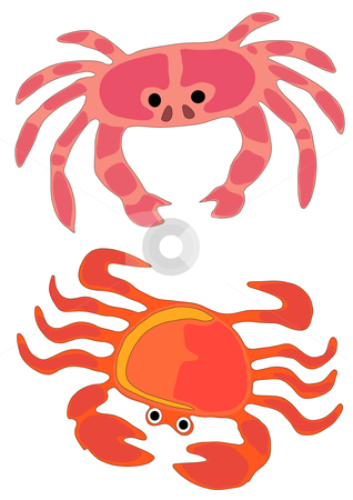 Crabs stock vector clipart, Vector Illustration of two types of ocean crabs in playful colors. by Robert Gebbie