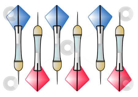 Darts Red and Blue stock vector clipart, A vector illustration of three blue darts and three red darts isolated on a white background by Robert Gebbie