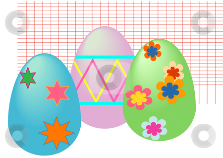 Easter Eggs stock vector clipart, Vector Illustration of pastel Easter eggs with various designs by Robert Gebbie