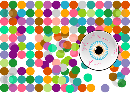 Eyeball and Dot Background stock vector clipart, Vector Illustration of a bloodshot eyeball breaking through colorful dots by Robert Gebbie