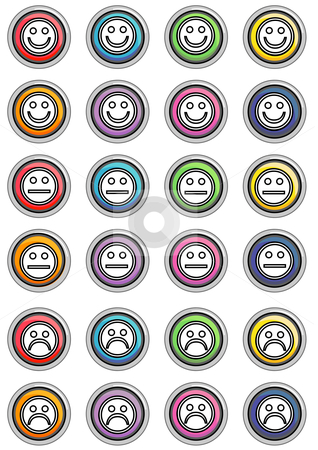 Face Black Icon Buttons Round stock vector clipart, Vector Illustration of a group of colored web buttons. by Robert Gebbie