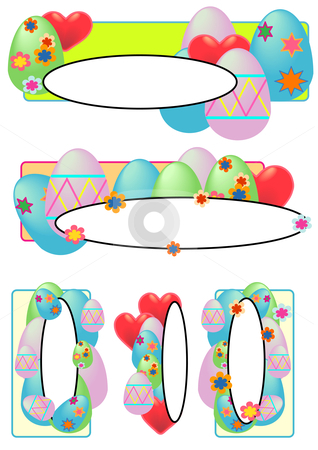 Easter Egg Tags Oval stock vector clipart, Vector Illustration of Easter eggs, pastel flowers and hearts. by Robert Gebbie