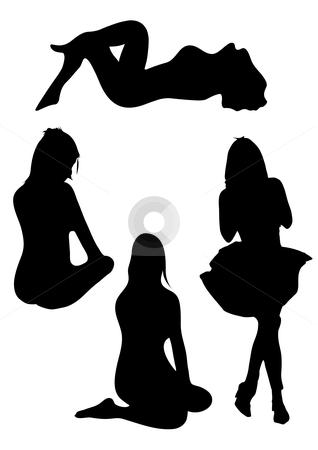Four Women Silhouette. stock vector clipart, A vector illustration of the silhouette of four women by Robert Gebbie