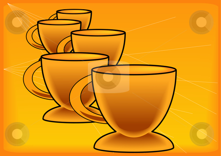 Gold Coffee Cup Background stock vector clipart, Vector Illustration of five golden colored coffee cups by Robert Gebbie