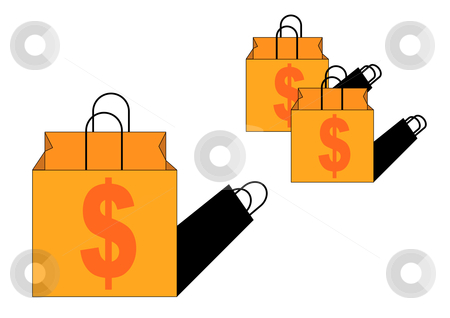 Grocery Bags stock vector clipart, Vector Illustration of brown handled grocery bags with dollar sign art by Robert Gebbie