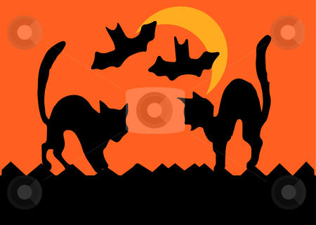 Halloween Cat Fight stock vector clipart, Two cats on a fence square off by arching their backs, bats flying past a crescent moon,  in silhouette. by Robert Gebbie