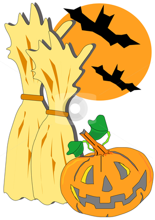 Halloween Scene stock vector clipart, Vector illustration of fall seasonal holiday clip-art images with jack-o-lantern and bats. by Robert Gebbie