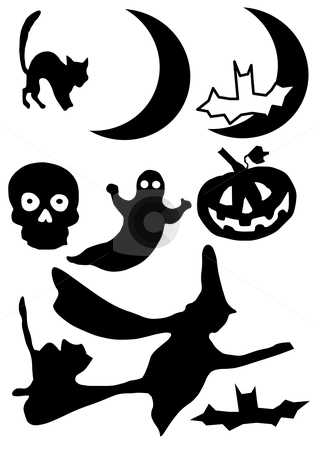 Halloween Silhouette stock vector clipart, Vector Illustration of Halloween clip art images. In silhouette. by Robert Gebbie