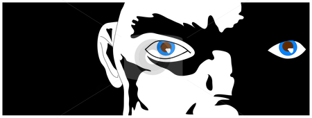 Hard Eyes stock vector clipart, A face in partial darkness, blue eyes glinting from the shadows. Vector illustration. by Robert Gebbie