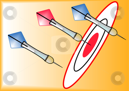 Hit or Miss stock vector clipart, A vector illustration of red and blue darts on a dart board by Robert Gebbie