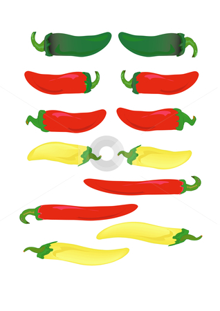 Hot Peppers stock vector clipart, Green, red and yellow hot peppers in vector illustration AI8. by Robert Gebbie