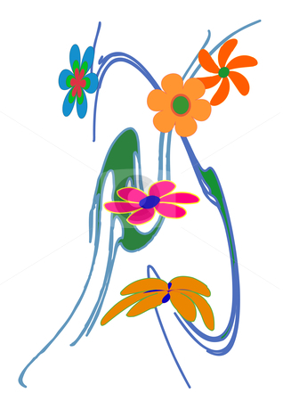 Lazy Flowers stock vector clipart, Vector illustration of colorful flowers on a blue swirled design by Robert Gebbie