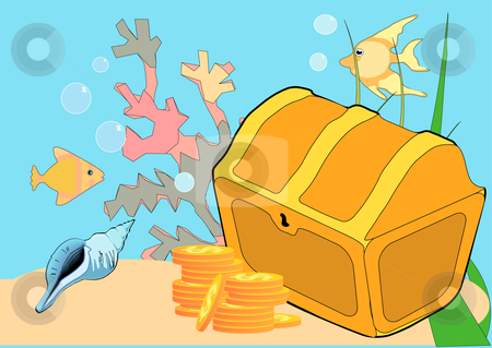 Lost Treasure stock vector clipart, Vector Illustration of a treasure chest, coral, fish, and sand under water by Robert Gebbie