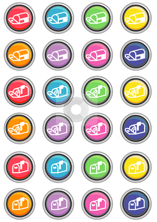 Mail Icon Buttons Round stock vector clipart, Vector Illustration of a group of colored web buttons. by Robert Gebbie