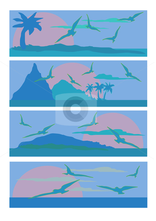 Ocean Scene Blue and Green stock vector clipart, Vector Illustration of four different sea scapes done in blue shades. by Robert Gebbie