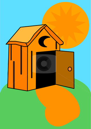 Outhouse stock vector clipart, Vector Illustration of an orange outhouse with an open door and moon crescent by Robert Gebbie