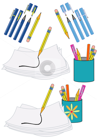 Pens, Pencils and Paper stock vector clipart, Vector Illustration of writing instruments, paper, and a scribble. by Robert Gebbie