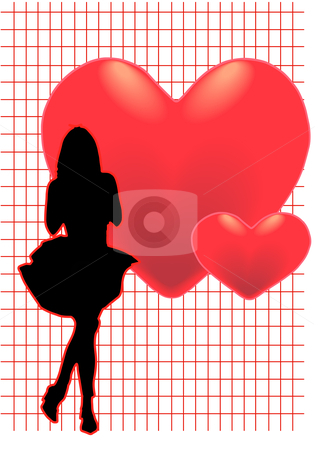 Romance Girl stock vector clipart, A vector illustration of a woman standing infront of hearts by Robert Gebbie