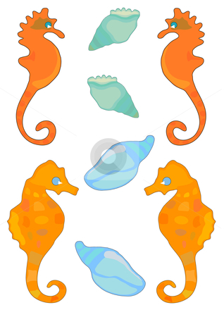 Shells and SeaHorses stock vector clipart, Vector Illustration of sea horses and conch shells in bright colors. by Robert Gebbie