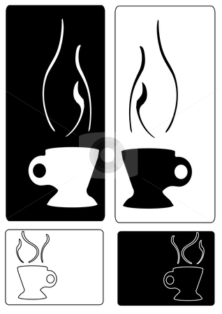 Silhouette Steaming Cup Tags stock vector clipart, Vector Illustration of black and white steaming cups of hot liquid by Robert Gebbie