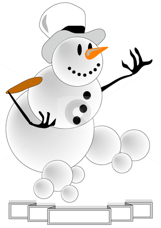 Snowman with Banner stock vector clipart, Vector Illustration of a white snowman wearing a top hat with banner by Robert Gebbie