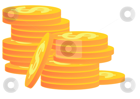 Stacks of Gold Coins stock vector clipart, Vector Illustration of stacks of gold coins with dollar signs on them. by Robert Gebbie