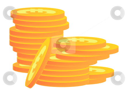 Stacks of Gold Coins Euro stock vector clipart, Vector Illustration of stacks of gold coins with Euro symbols on them. by Robert Gebbie