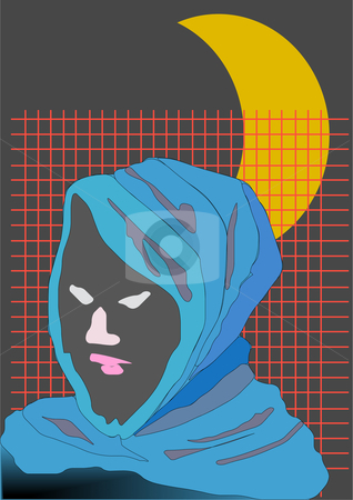 Suspect stock vector clipart, Vector Illustration of a person with a blue hood, crescent moon in the background by Robert Gebbie
