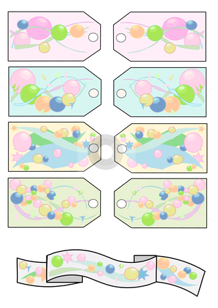 Tags Beads and Stars stock vector clipart, Festive gift tags in pastel colors with beads and stars, and a colorful matching banner. by Robert Gebbie