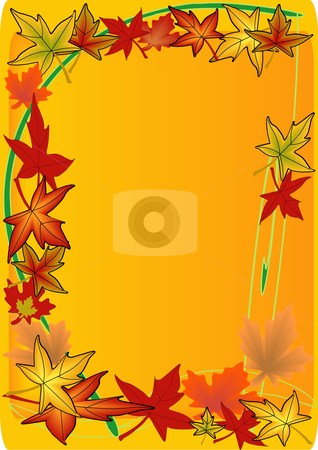 Tall Leaf Frame stock vector clipart, Vector Illustration of colorful autumn leaves swirling along a framed text area by Robert Gebbie