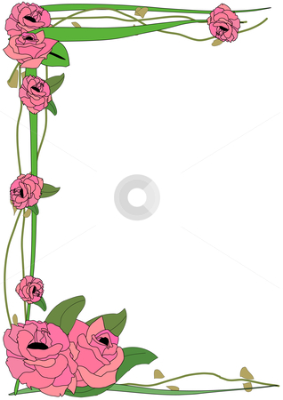 Tall Rose Border stock vector clipart, Vector Illustration of large pink roses framing a page on green leafy vines by Robert Gebbie