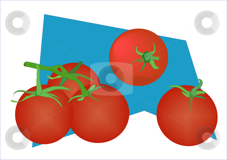 Tomatoes on Blue stock vector clipart, Vector illustration of tomatoes in different profiles and groupings. by Robert Gebbie