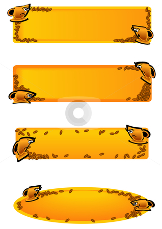 Toon Cup Tags Gold stock vector clipart, Vector Illustration of gold cups with faces and emotions on tags with spilled coffee beans. by Robert Gebbie