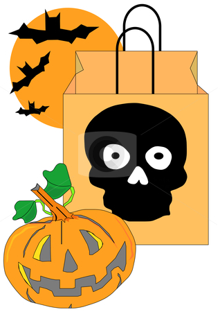 Trick or Treat stock vector clipart, Vector Illustration of a Halloween candy bag with a skull on it, a jack-o-lantern and some bats. by Robert Gebbie