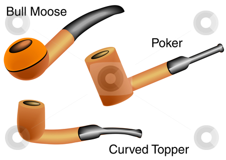 Trio of Pipes stock vector clipart, Vector Illustration of three types of pipes, Bull Moose, Poker and Curved Topper. by Robert Gebbie