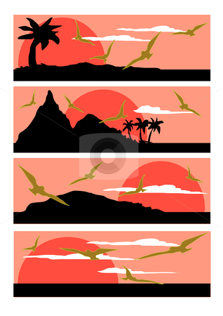 Tropical Ocean Sunset stock vector clipart, Vector Illustration of four different sea scapes done in coral shades. by Robert Gebbie