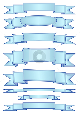 Tweaked Blue Banner Ribbons stock vector clipart, Vector Illustration of eight different light blue banners. by Robert Gebbie